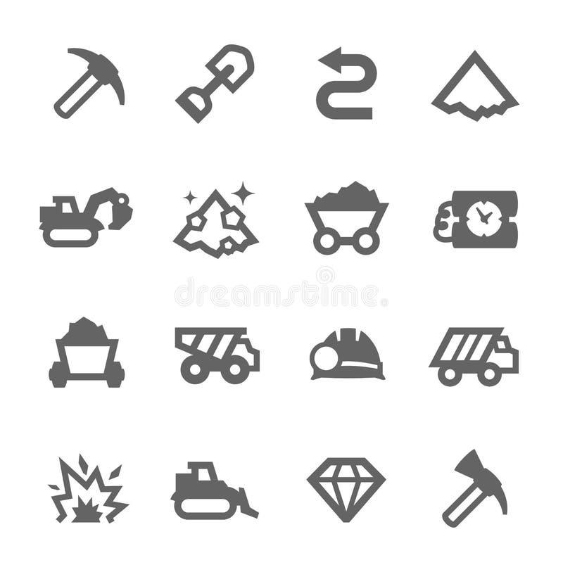 Górnicze ikony royalty ilustracja
