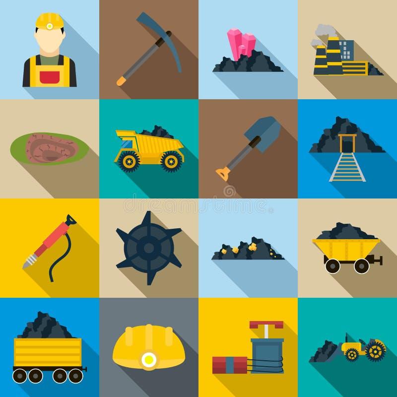 Górnicze ikony ustawiać, mieszkanie styl ilustracja wektor