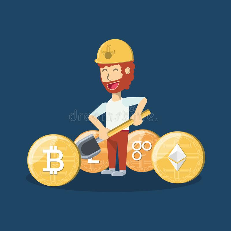 Górniczy cryptocurrency projekt ilustracji