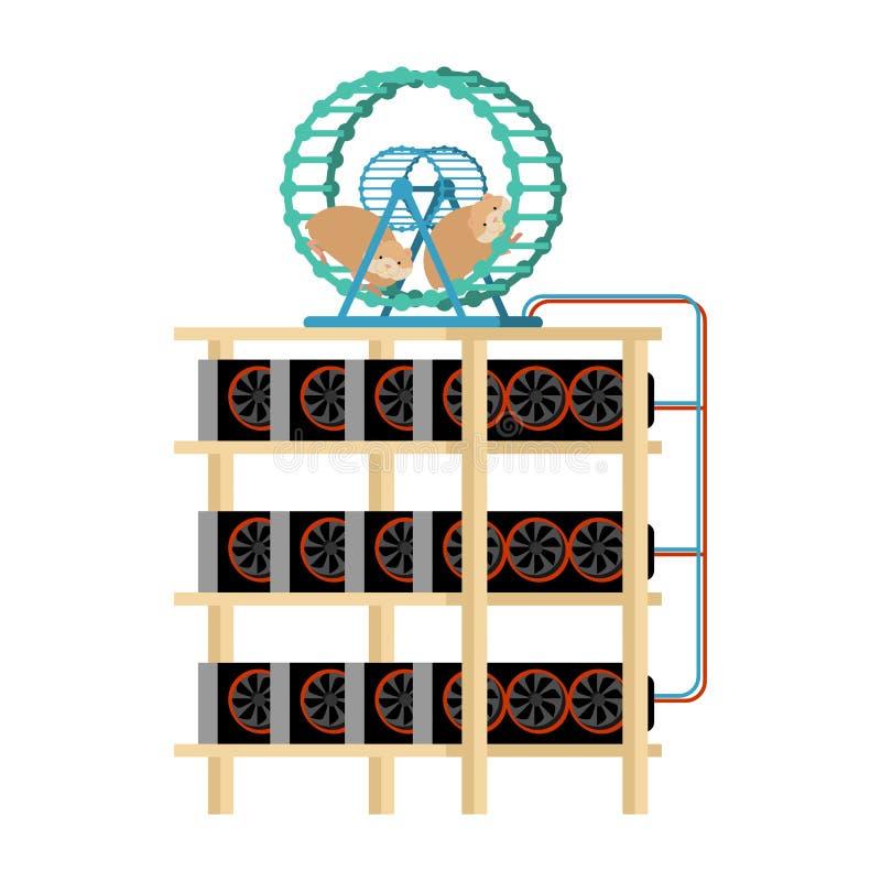 Górniczy gospodarstwo rolne i chomik w kole produkujemy elektryczność Domowy Mini ilustracja wektor