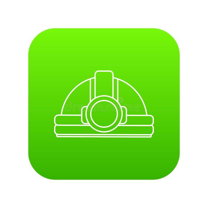 Górniczy hełm ikony zieleni wektor ilustracja wektor