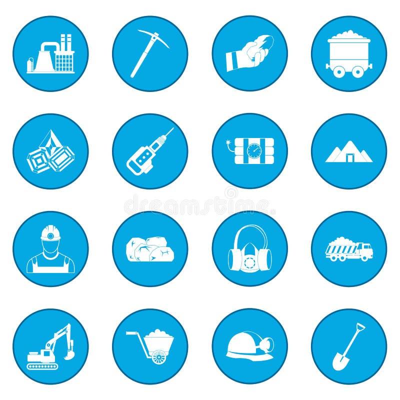 Górniczy ikony błękit royalty ilustracja