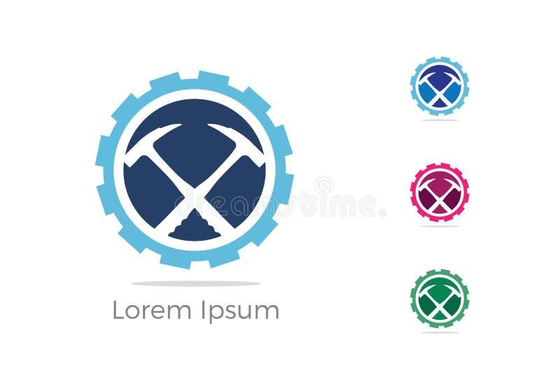Górniczy logo, samochodowy naprawianie usługa loga projekt, wyrwanie i młot w przekładni ikonie, mechanik wytłaczamy wzory wektor ilustracji
