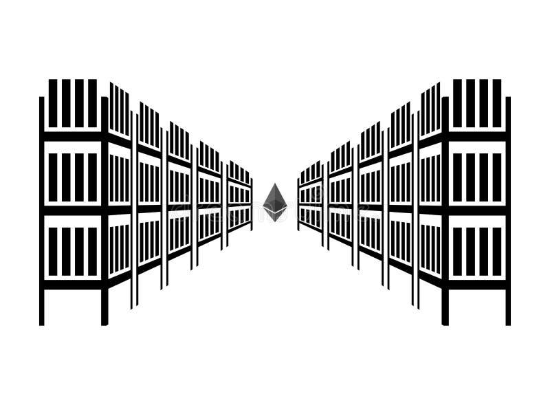 Górniczy rolny etherium Ekstrakcja Cryptocurrency Statywowy gpu T ilustracji