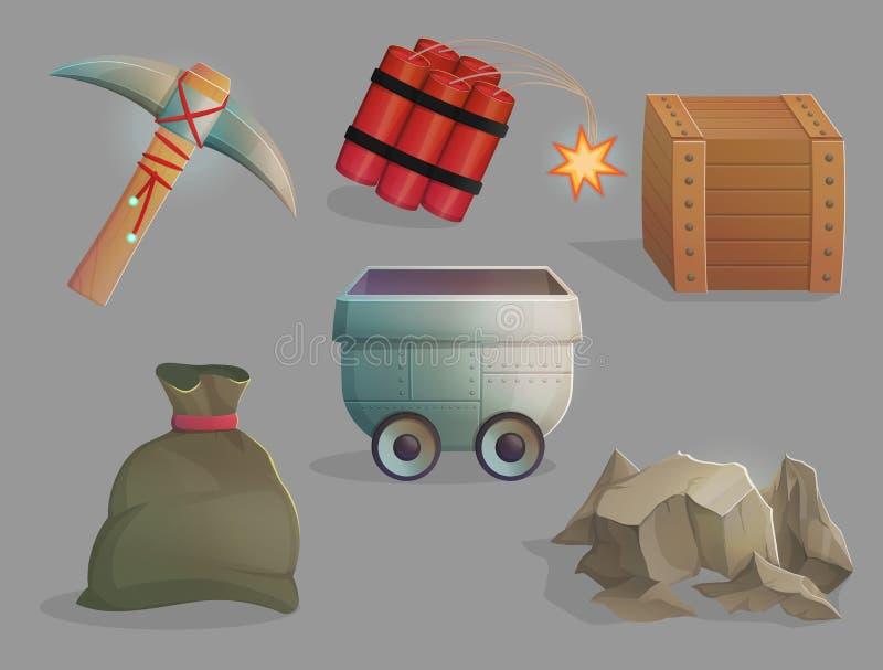 Górniczy surowców naturalnych narzędzia, rzeczy i ilustracja wektor