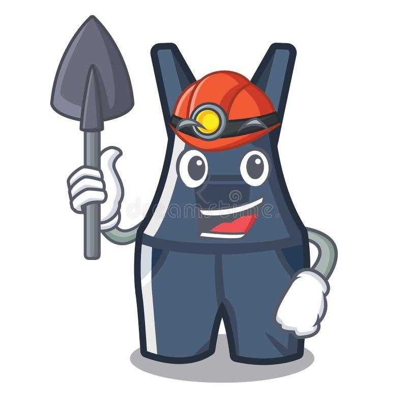 Górników kombinezony wiesza na kreskówki ścianie ilustracja wektor