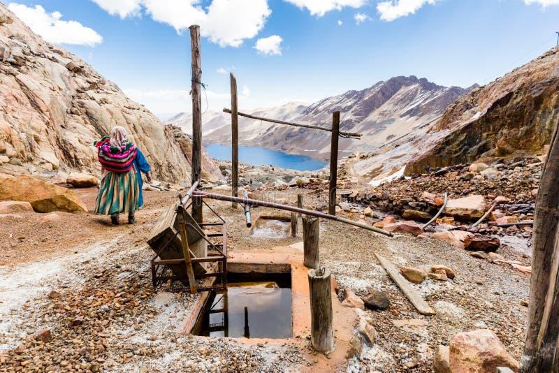 Górnik kobiety pracownika tradycyjne bolivian ubraniowe góry jezioro, Boliwia podróż zdjęcia stock
