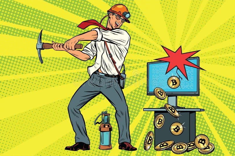 Górnika biznesmen minuje bitcoins od twój komputeru ilustracja wektor