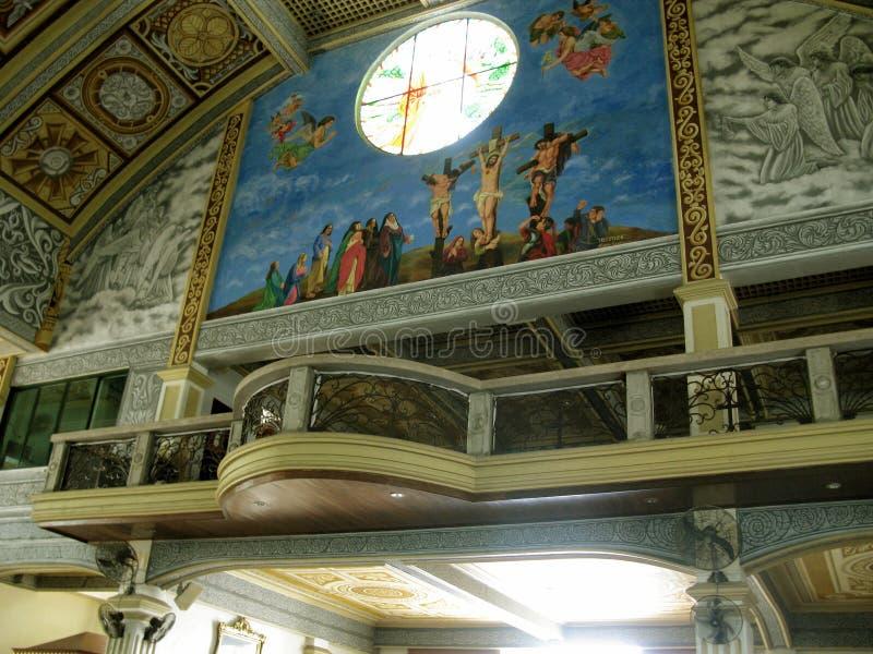 Górny balkon Główny kościół, Krajowa świątynia Boska litość w Marilao, Bulacan obrazy stock