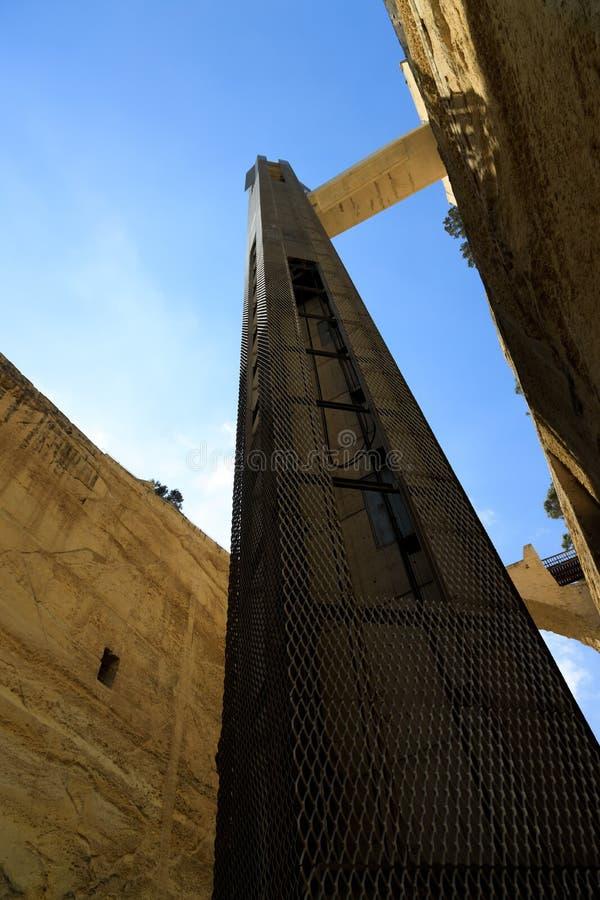 Górny Barrakka dźwignięcie w Valletta zdjęcie stock