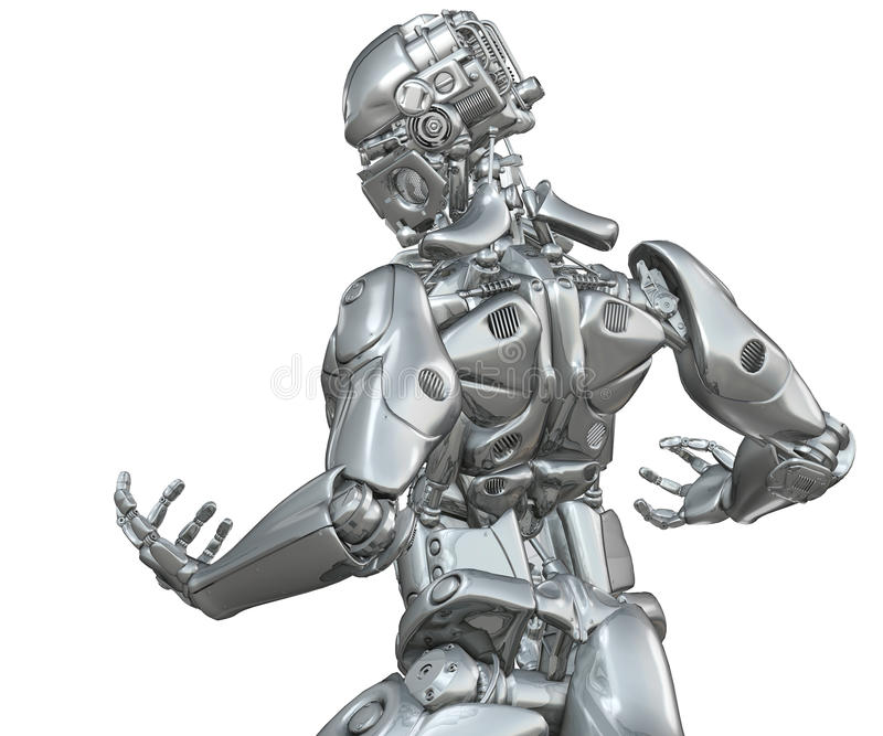 Górny ciało chromu robot ilustracji