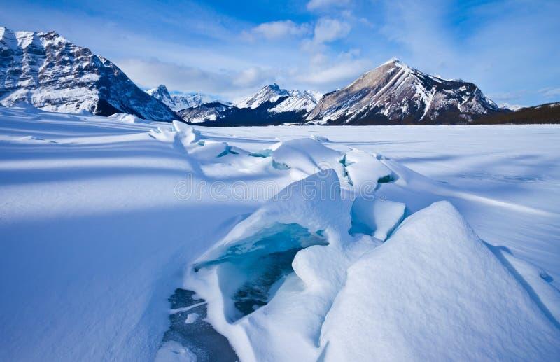 Górny Kananaskis jezioro w zimie - Peter Lougheed prowincjonału park zdjęcie royalty free