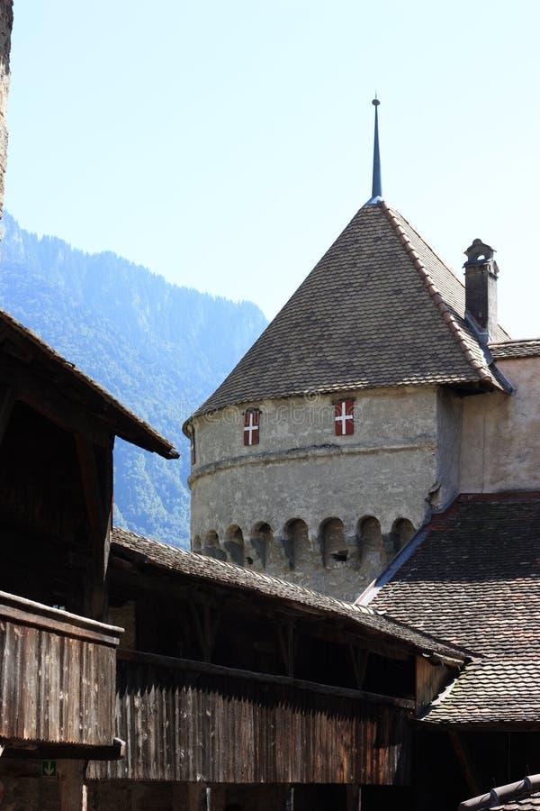 górska chata Chillon De Wnętrze fotografia stock