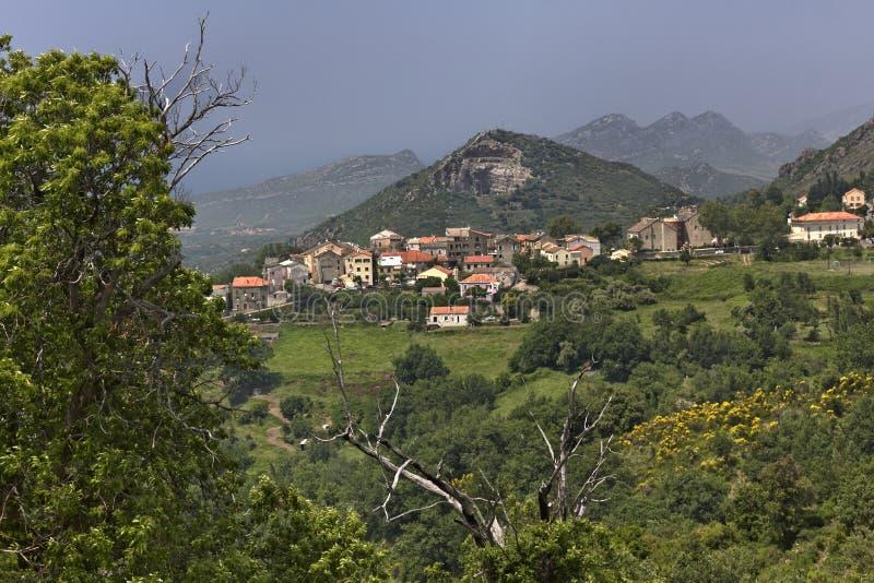 Górska wioska Olmeta Di Tuda, Nebbio region, Północny Corsica, Francja (di) obraz royalty free