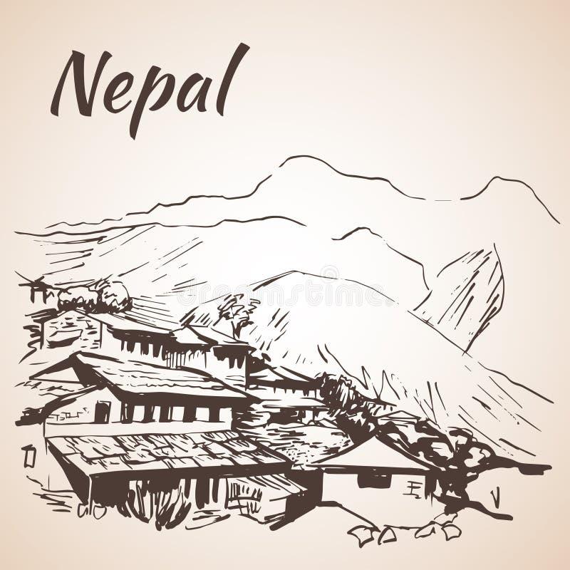 Górska wioska w Nepal, Annapurna obwodzie - royalty ilustracja