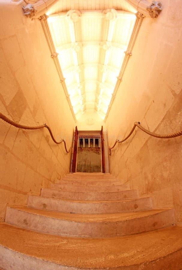 górskiej chaty chenonceau de France wnętrza schody fotografia stock