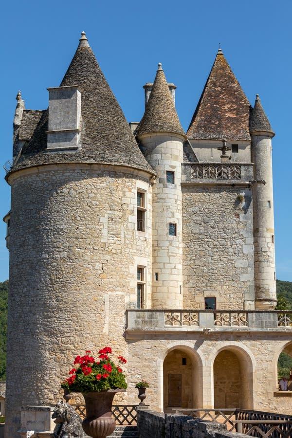 Górskiej chaty des Milandes, kasztel w Dordogne od forties lata sześćdziesiąte xx wiek, należał Josephine półdupki zdjęcia stock