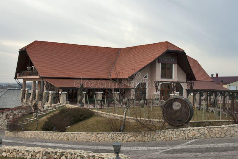 górskiej chaty sławna Moldova vartely wytwórnia win obraz stock