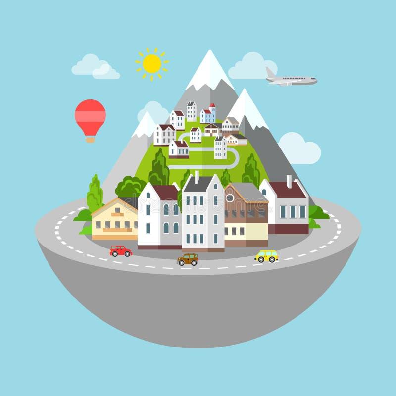 Górskiej wioski grodzkiej drogowej podróży płaski isometric wektor 3d ilustracja wektor