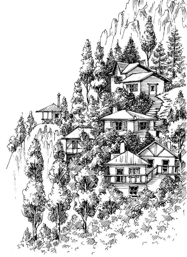 Górskiej wioski nakreślenie royalty ilustracja
