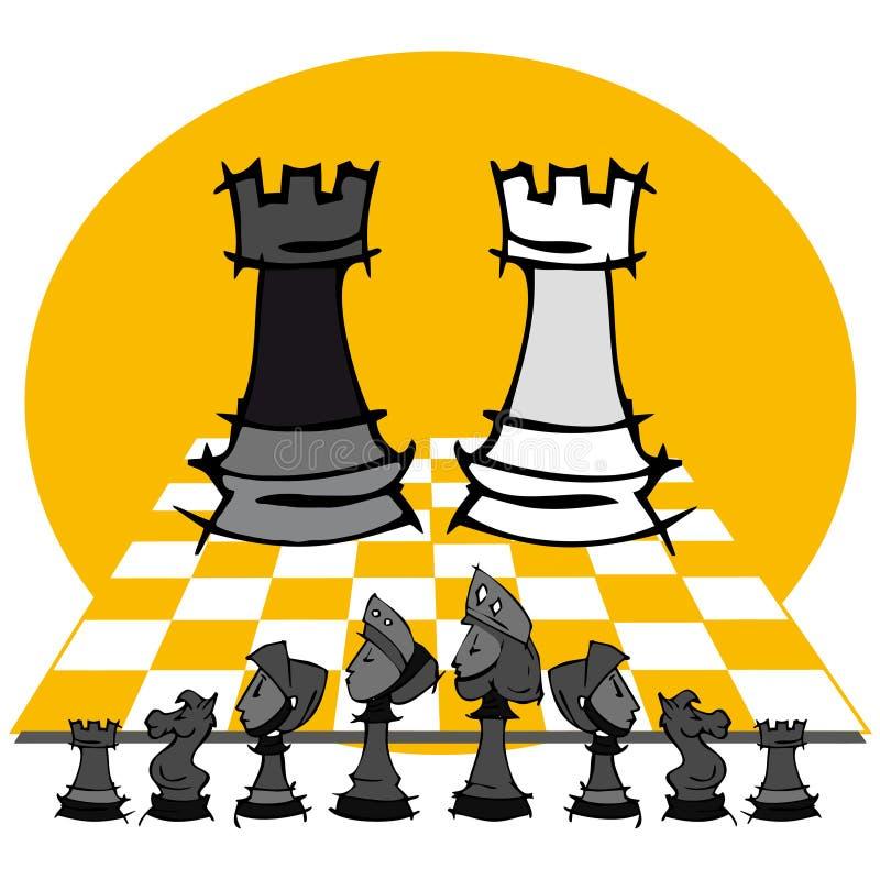 2 górują: Szachowa gra, kreskówka ilustracja wektor