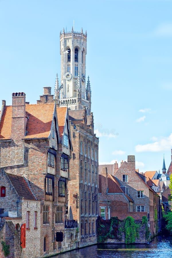 Góruje Belfort w Bruges obrazy royalty free