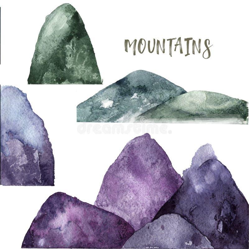 Góry akwareli pluśnięć tekstury zieleni klamerki rysunkowa ilustracyjna geometryczna sztuka dla przyjęcie urodzinowe druku święto ilustracja wektor