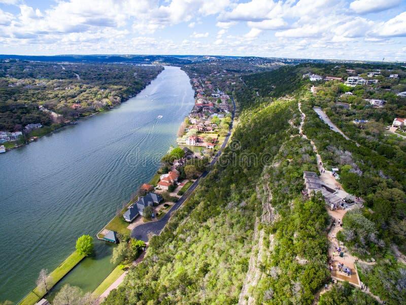 Góry Bonnell lata widok z lotu ptaka od Above Austin Teksas zdjęcia royalty free
