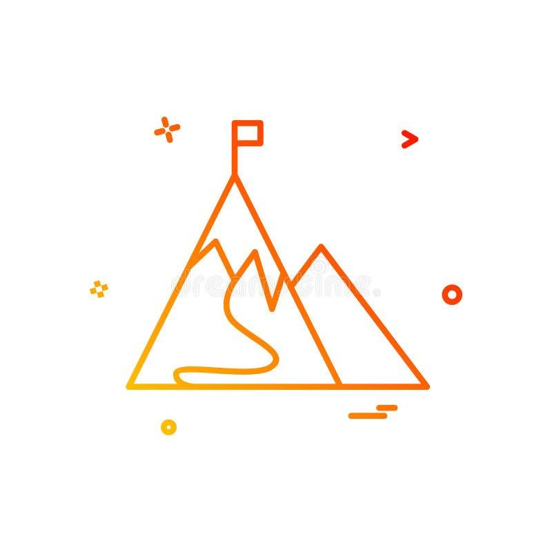 góry chorągwianej ikony wektorowy projekt ilustracja wektor