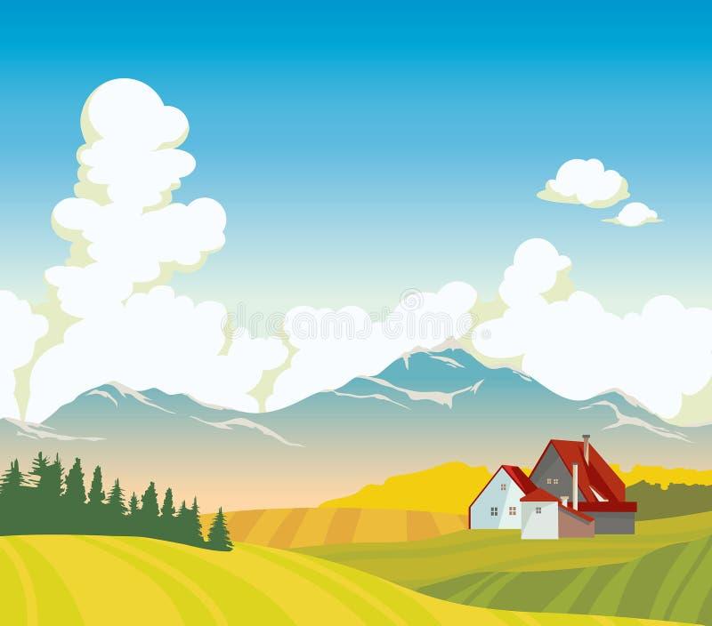 Góry, dom, pole, chmury, lasu krajobraz ilustracji