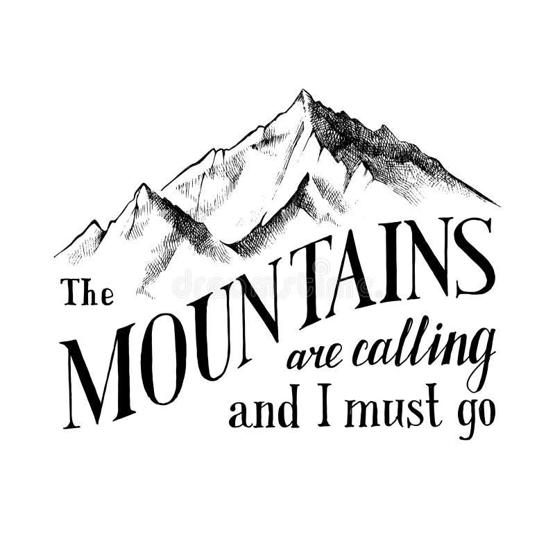 Góry dzwonią i muszę iść - emblemat royalty ilustracja