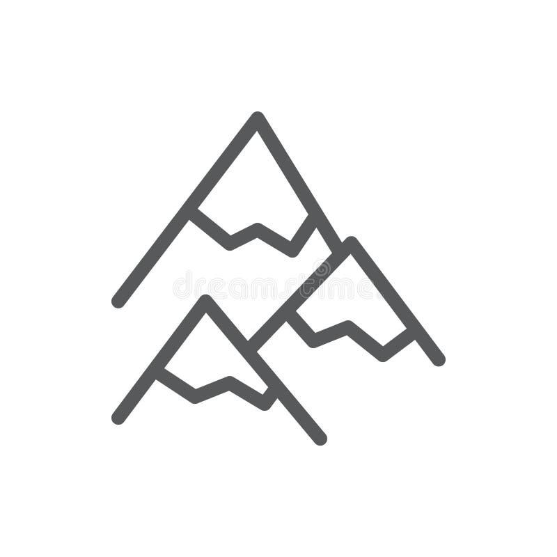 Góry editable ikony wektorowa ilustracja - cienki kreskowy symbol szczyty zakrywający z śniegiem i lodem royalty ilustracja