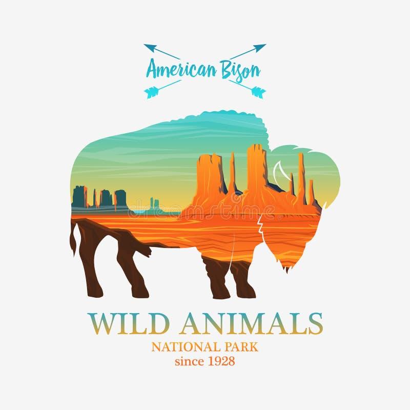 Góry i bizon, sylwetki dzikie zwierzę Wieloskładnikowy lub dwoisty ujawnienie stara etykietka lub odznaka Podróż i żubr ilustracja wektor