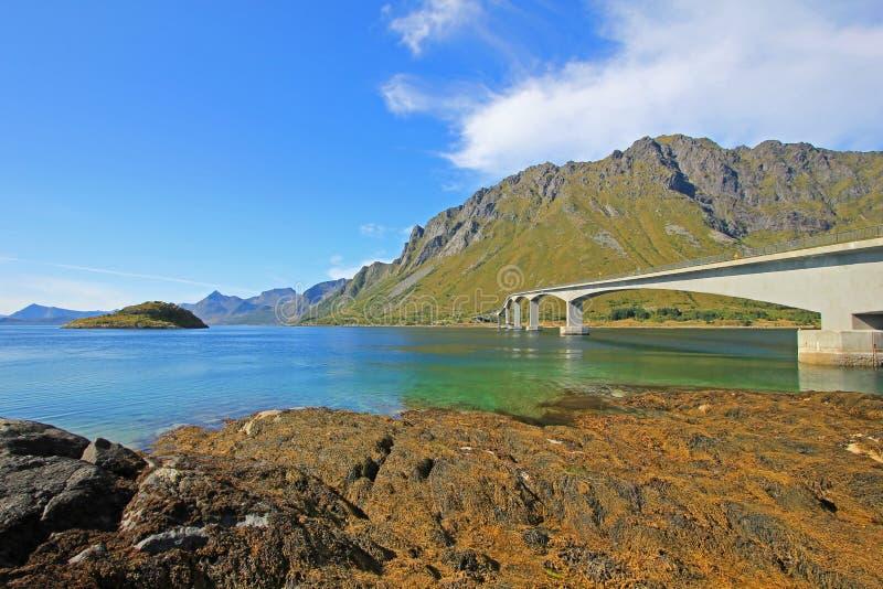 Góry i fjord krajobraz, norweski morze przy Holandsmelen, Vestvagoy, Lofoten wyspy, Norwegia zdjęcia royalty free