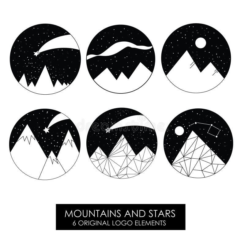 Góry i gwiazdy Wysokiej jakości oryginalni logowie zdjęcia stock