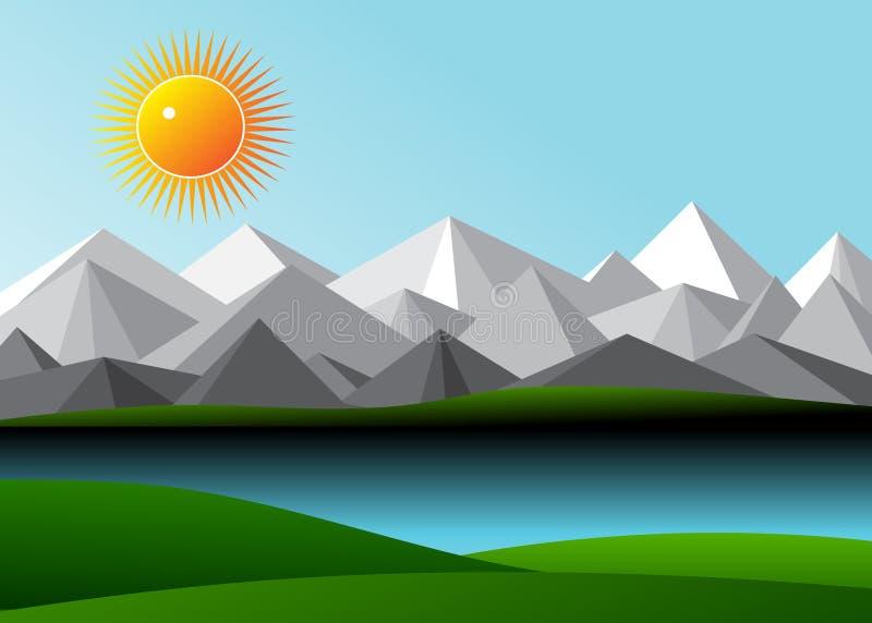 Góry i jezioro royalty ilustracja