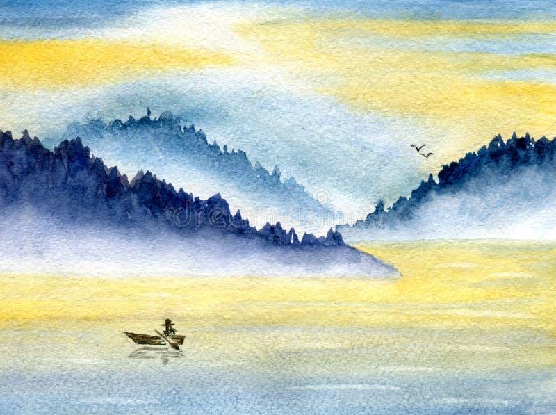 Góry i morze ilustracja wektor