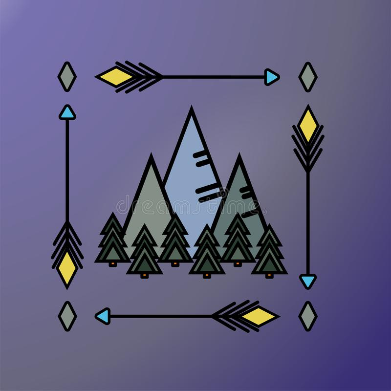 Góry i sosnowy las w minimalizmu stylu w kwadrat ramie strzały Plenerowy świetlicowy majcher, logo, druków ubrania, torba, decal ilustracji