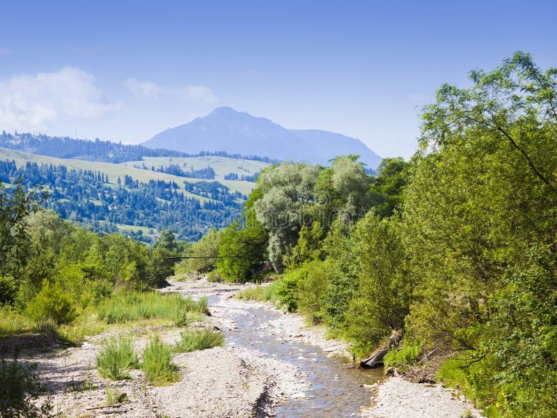 Góry i wody strumień, lato krajobraz zdjęcie royalty free