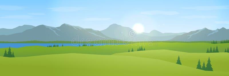 Góry i wzgórza kształtują teren płaską projekt panoramę ilustracji