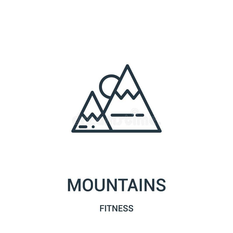 góry ikony wektor od sprawności fizycznej kolekcji Cienka kreskowa góra konturu ikony wektoru ilustracja Liniowy symbol dla używa royalty ilustracja
