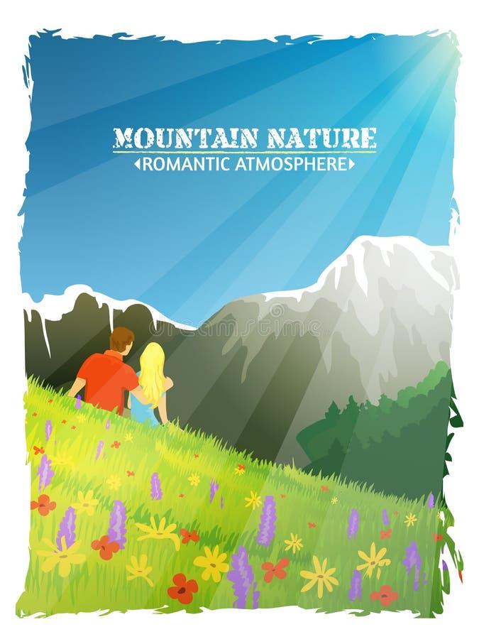 Góry Krajobrazowej natury tła Romantyczny plakat royalty ilustracja