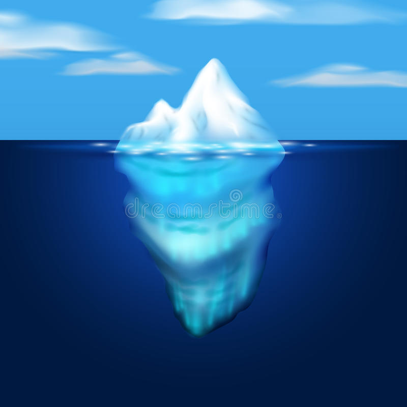 Góry lodowa ilustracja Blok lód w morzu niebieski obraz nieba tęczową chmura wektora royalty ilustracja