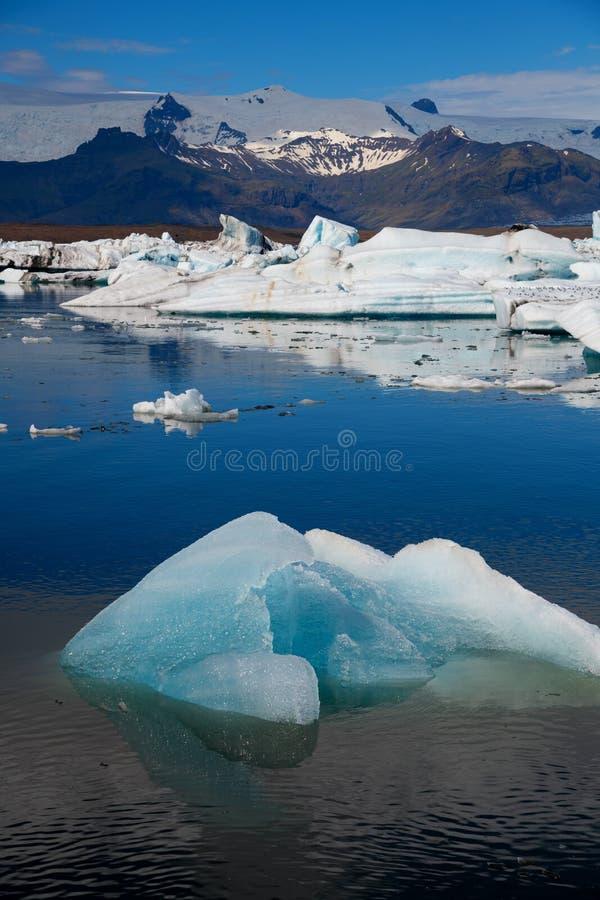 Góry lodowa w Jokulsarlon lodowa lagunie Vatnajokull park narodowy, Iceland lato obraz stock