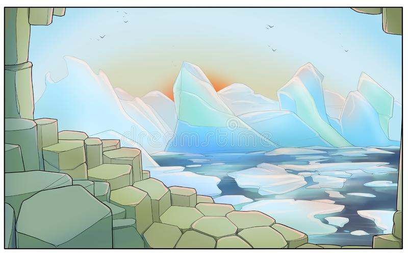 Góry lodowe blisko brzeg - cyfrowa ilustracja obraz stock