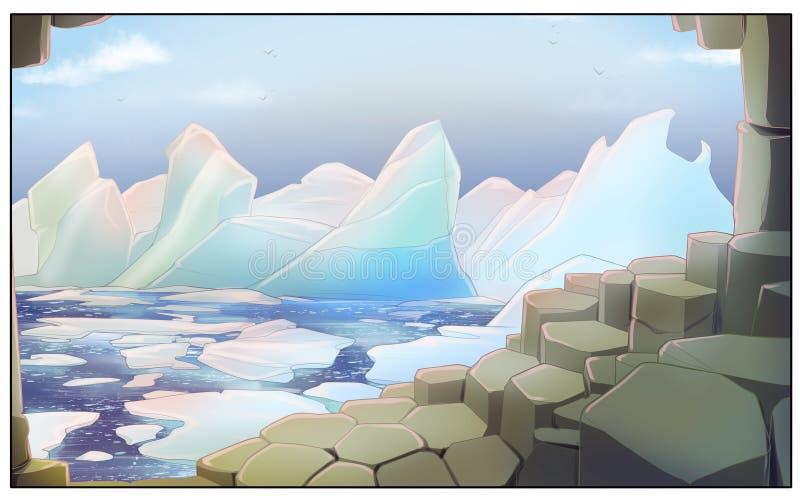 Góry lodowe blisko brzeg - cyfrowa ilustracja obraz royalty free