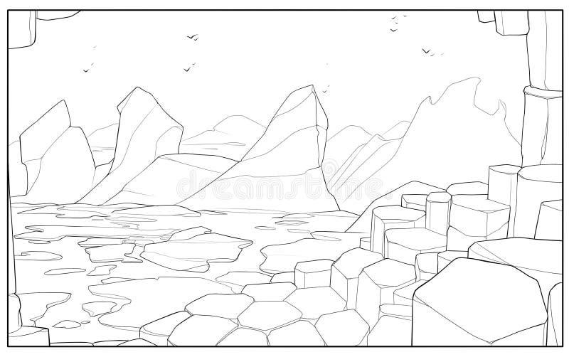 Góry lodowe blisko brzeg - konturowa cyfrowa ilustracja ilustracja wektor