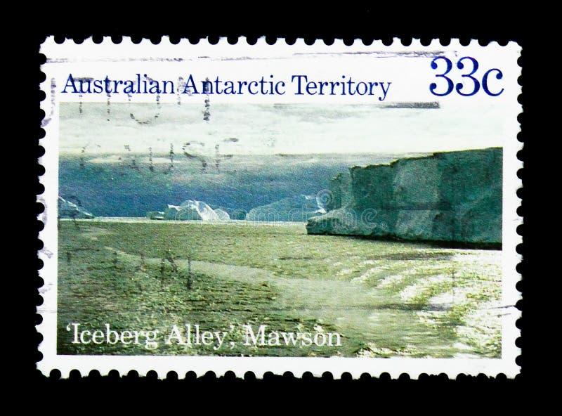Góry lodowej aleja, Mawson, Antarktyczny sceny seria około 1985, obraz royalty free