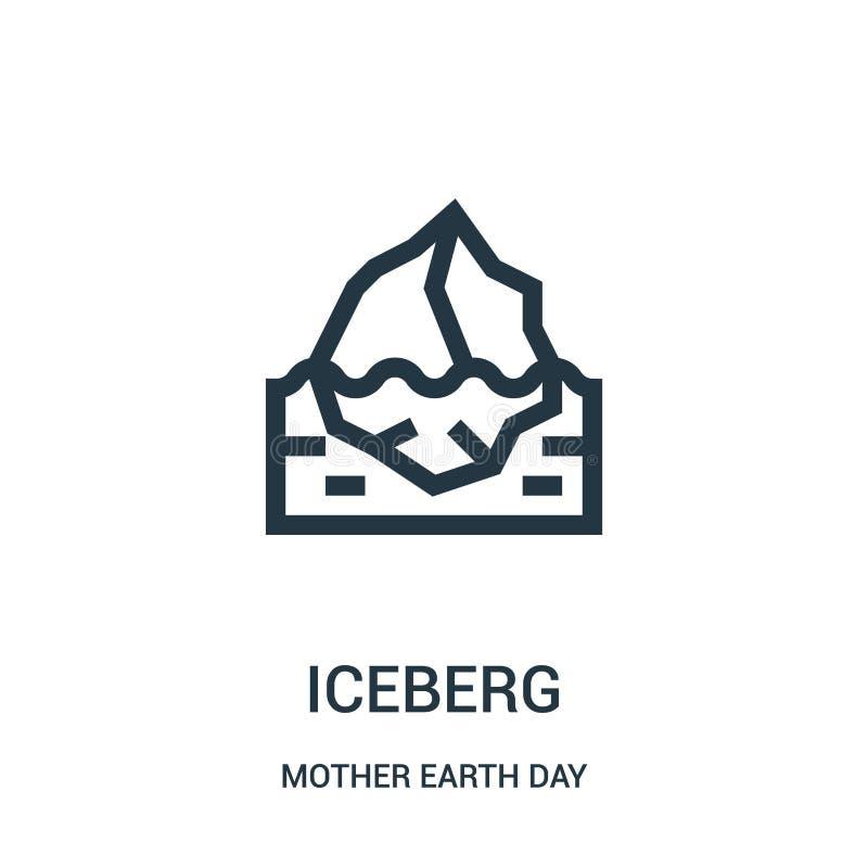 góry lodowej ikony wektor od macierzystej ziemskiego dnia kolekcji Cienka kreskowa góra lodowa konturu ikony wektoru ilustracja royalty ilustracja