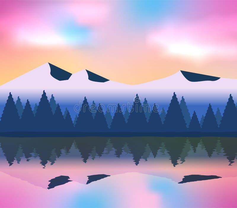 Góry na nieba błękita i menchii krajobrazie z odbicie cieniami w jeziorze ilustracja wektor